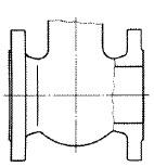 フランジ形バルブ(Flanged End type Valve)の模式図