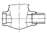 差込み溶接形バルブ(ソケット溶接形バルブ)(Socket Welding End type Valve)の模式図