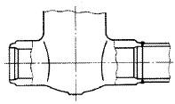 突合せ溶接形バルブ(Butt Welding End type Valve)の模式図